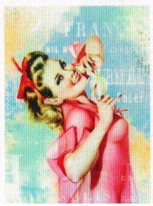 Retro Pin Up 50`s Aufnäher Vintage Nostalgie Applikation Stoffbild - 309