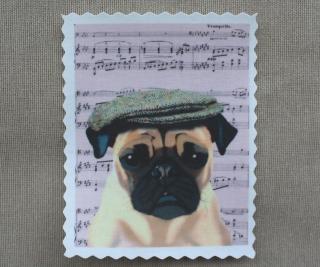 Label ♥ Shabby Mops Postkarte ♥ Applikation Stoffbild Aufnäher - 193