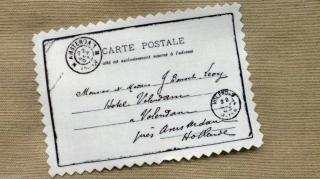 French Carte Postale Applikation Stoffbild Vintage Nostalgie