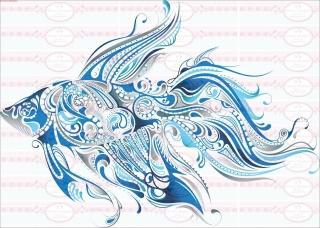 Bügelbild blau Fisch Meer Maritim Ocean Shabby Vintage A4 NO. 1618