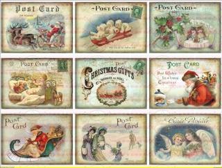 Bügelbilder Shabby Weihnachten Weihnachtsmann Postkarte NO. 878 Vintage