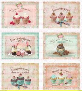 Bügelbild Cupcake Schokolade Muffin Paris french A4 NO. 1318 Vintage