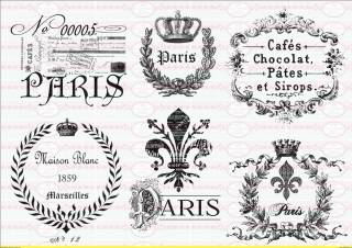 6 Bügelbilder Paris French Loge Schrift Shabby-Chic Vintage A4 NO.1464