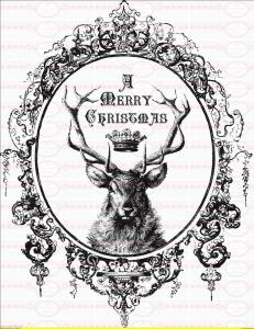 Bügelbild Shabby Hirsch Weihnachten Deer auf A4 NO. 1066 Vintage