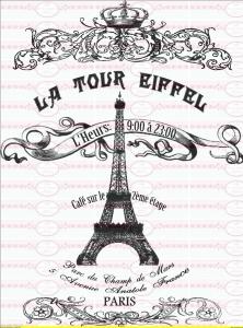 Vintage Paris Eiffelturm Schrift Französisch Bügelbild NO. 470