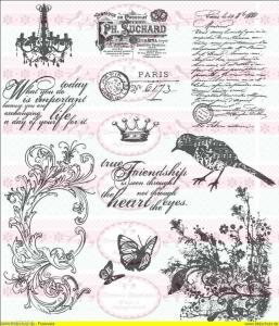Shabby Vintage Bügelbild Paris Postmark NO. 130