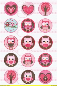 Shabby Vintage Bügelbilder Owl Eule Rosa Nostalgie Antik NO. 574