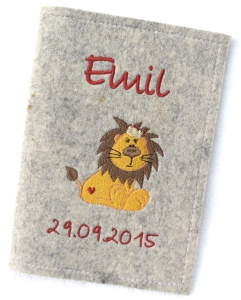 U-Hefthülle Umschlag - Löwe Lion - Hülle Untersuchungsheft U-Heft Filz