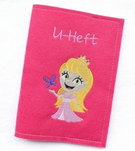 U-Hefthülle - Prinzessin - Hülle Untersuchungsheft Hülle U-Heft Filz Pink Rosa