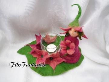 Windlicht aus Filz, gefilzte Blumenelfe, Wichtel, Teelichthalter, Fee