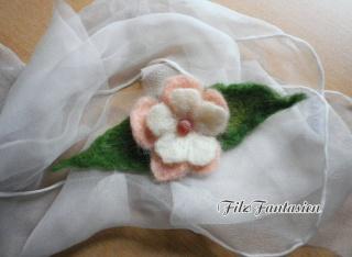 Brosche, Filzbrosche, Filzblüte, Blatt, Anstecknadel, Blume