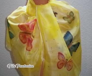 Handbemalter Seidenschal mit Schmetterlingen, Schal, Seidentuch in Gelb