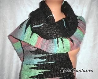 Schal, Webschal, handgewebt handgesponnen und handgefärbt, Damenschal, Fransenschal, handgewebter Schal