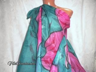 Handbemaltes, großes Seidentuch, Tuch in Streifenoptik, Pareo in Grün und Pink, Seidenpareo