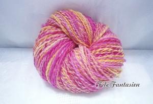 Handgesponnene, handgefärbte Wolle mit Farbverlauf, 107g Merinowolle in Bonbonfarben, Strickgarn, Häkelgarn