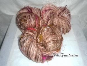 Art Yarn handgesponnen, Effektgarn 261g, handgesponnene Wolle, Strickgarn, Garn, Merinowolle, handkardierte Wolle, Spiralgarn rosa-braun