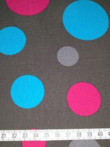 Jersey grau mit blauen, grauen und pinken Kreisen