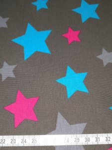 Jersey grau mit blauen, grauen und pinken Sterne