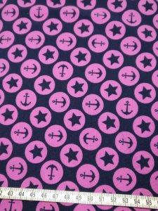 Baumwolljersey mit Sternen und Ankern in pink schwarz