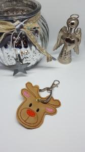 Schlüsselanhänger Elch aus braunem Kunstleder Maschinengestickt