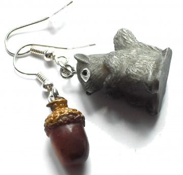 niedliche Eichhörnchen und Eichel Ohrringe - 1 Paar Ohrhänger