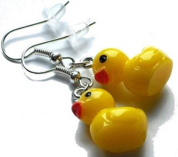 süße gelbe Enten Badeenten Quitscheenten Ohrringe - 1 Paar Ohrhänger