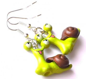 süße grüne Schnecken Ohrringe - 1 Paar Ohrhänger