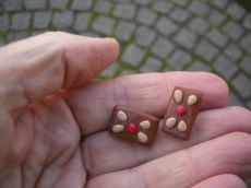 Ohrstecker Lebkuchen zur Weihnachtszeit Fimo Polymer clay handmodelliert