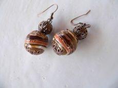 Ohrhänger aus handmodellierten Perlen in braun beige kupfer Fimo Polymer clay Ohrringe Ohrschmuck - Handarbeit kaufen
