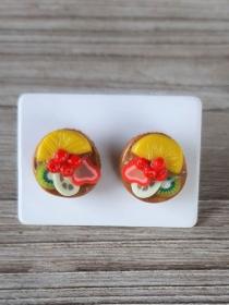 Ohrstecker Mini Obst Törtchen Ohrringe witziger Ohrschmuck modelliert aus Fimo Polymer Clay - Handarbeit kaufen