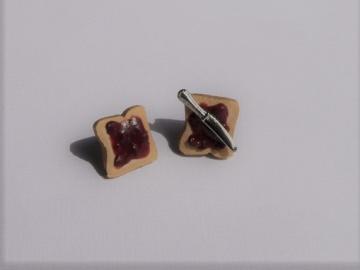 Ohrstecker Toast mit Schokocreme Ohrringe Ohrschmuck handmodelliert Fimo