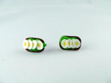 Ohrstecker Eibrot Ohrringe Ohrschmuck handmodelliert Fimo  - Handarbeit kaufen