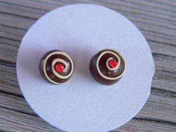 Ohrstecker Mini Pralinen Ohrringe Ohrschmuck modelliert aus Fimo
