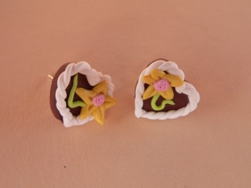 Ohrstecker Lebkuchenherz Oktoberfest Ohrringe Ohrschmuck handmodelliert Fimo