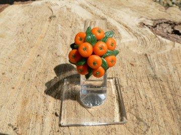 Ring mit handmodellierten Mandarinen aus Modelliermasse Fimo