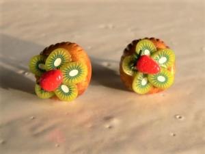 Ohrstecker Mini Obst Törtchen Kiwi Ohrringe Ohrschmuck Fimo
