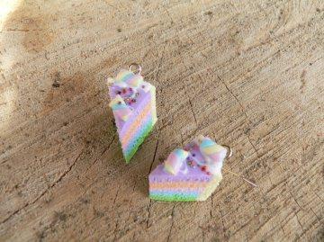 Ohrhänger Regenbogentorte Ohrringe aus Fimo handmodelliert
