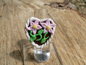 Ring mit Lebkuchenherz zum Oktoberfest Fimo Polymer clay  handmodelliert