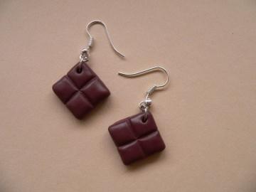 Ohrhänger Schokolade Ohrringe aus Fimo handmodelliert