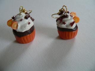 Ohrhänger Cupcake mit Orange aus Fimo Ohrringe handmodelliert