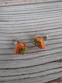Ohrstecker Waffelherz mit Kiwi und Erdbeere Ohrringe Ohrschmuck handmodelliert Fimo  - Handarbeit kaufen
