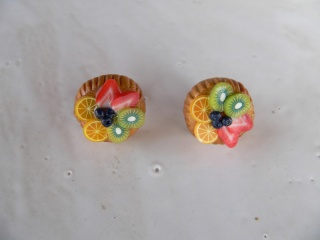 Ohrstecker Mini Obst Törtchen Ohrringe Ohrschmuck modelliert aus Fimo