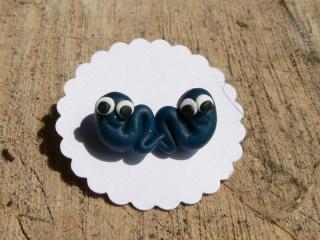 Wurm in blau Ohrstecker Ohrringe handmodelliert aus Fimo    - Handarbeit kaufen