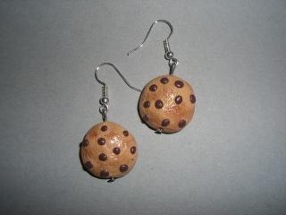 Ohrhänger Cookies mit Schokolade Ohrringe aus Fimo handmodelliert   - Handarbeit kaufen
