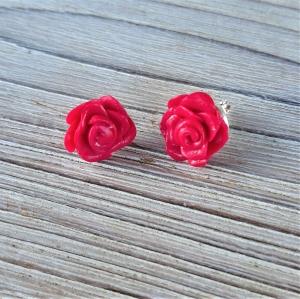 Ohrstecker Rosen Blüten Ohrringe handmodelliert aus Fimo    - Handarbeit kaufen