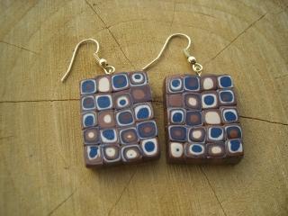 Ohrhänger Klimtstyle aus handmodellierten Perlen in braun petrol weiß Fimo Polymer clay   - Handarbeit kaufen