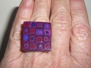 Ring Klimtstyle aus handmodellierten Perlen in Beerentönen Fimo Polymer clay   - Handarbeit kaufen