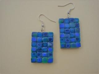Ohrhänger Klimtstyle aus handmodellierten Perlen in blau und grün Fimo Polymer clay