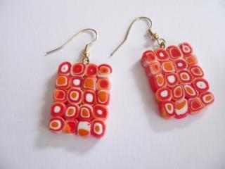Ohrhänger Klimtstyle aus handmodellierten Perlen in rot orange weißFimo Polymer clay    - Handarbeit kaufen