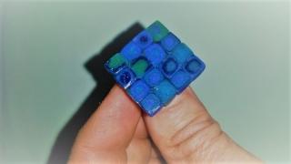 Ring Klimtstyle aus handmodellierten Perlen in blau-und grüntönen Fimo Polymer clay    - Handarbeit kaufen